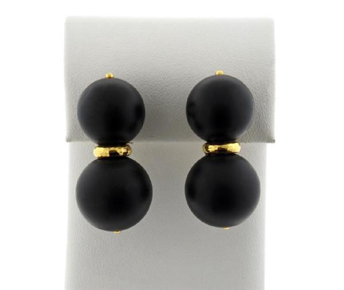 Andrew Clunn 18K Gold Jet Double Ball Earrings