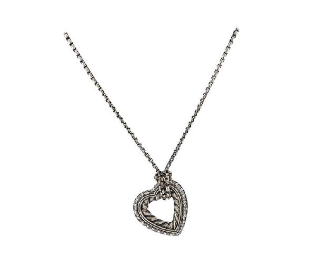 David Yurman Sterling Diamond Heart Pendant Necklace