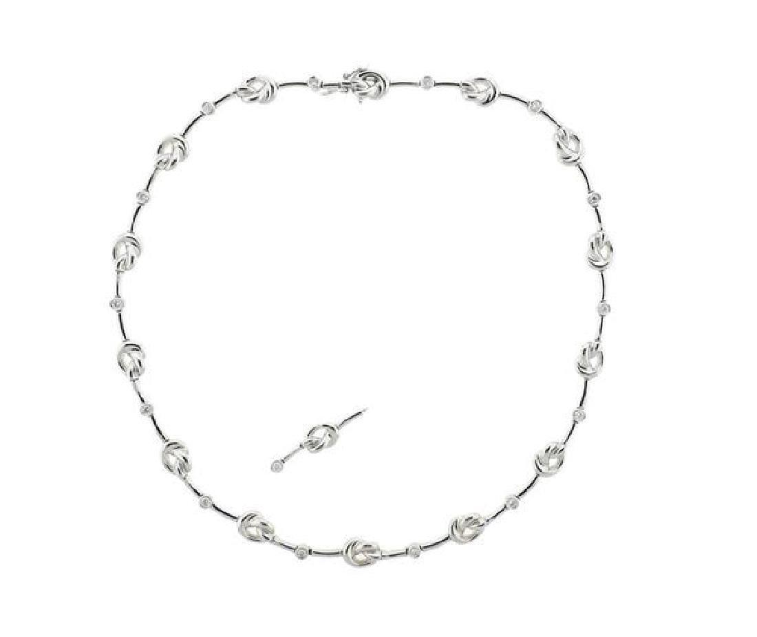Verdura 18K Gold Diamond Knot Necklace
