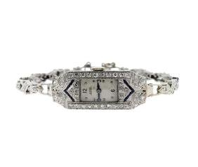 Art Deco Girard Perregaux Platinum Diamond Sapphire