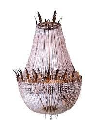 LAMPADARIO Importante lampadario in bronzo e cristallo,