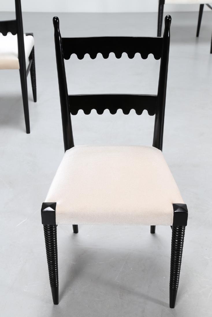 PIER LUIGI COLLI Sei sedie in legno laccato nero e - 2
