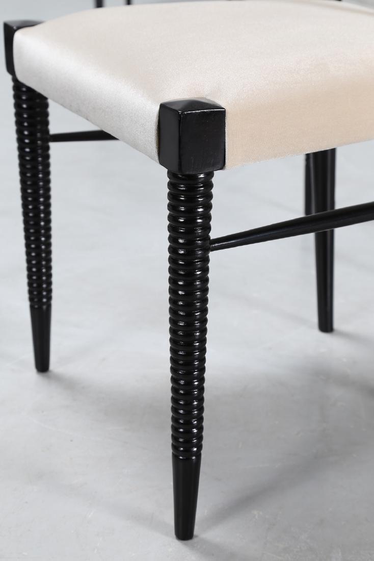 PIER LUIGI COLLI Sei sedie in legno laccato nero e - 3