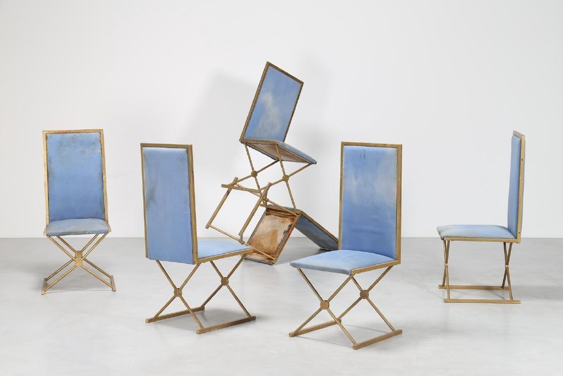 TURRI Sei sedie in metallo dorato e tessuto, per