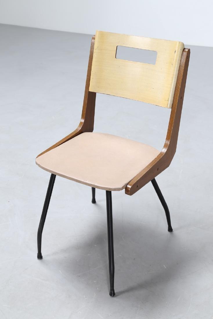 CARLO DE CARLI Sei sedie in tondino di ferro legno