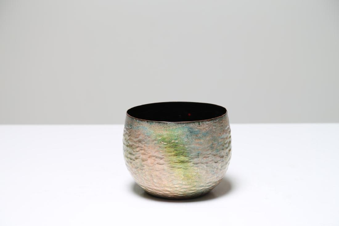 PAOLO DE POLI Enameled copper vase, Smalti De Poli