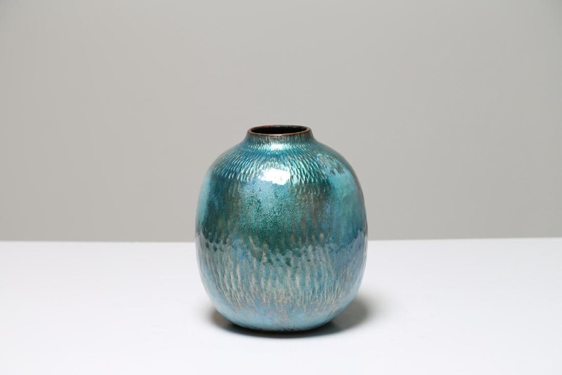 PAOLO DE POLI Enameled copper big vase, Smalti De Poli
