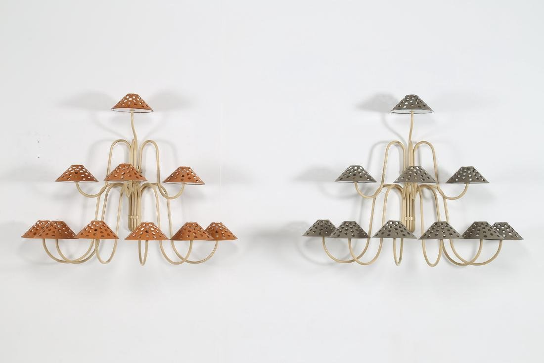 JEAN  ROYERE Attrib. Lacquered brass wall lamps and