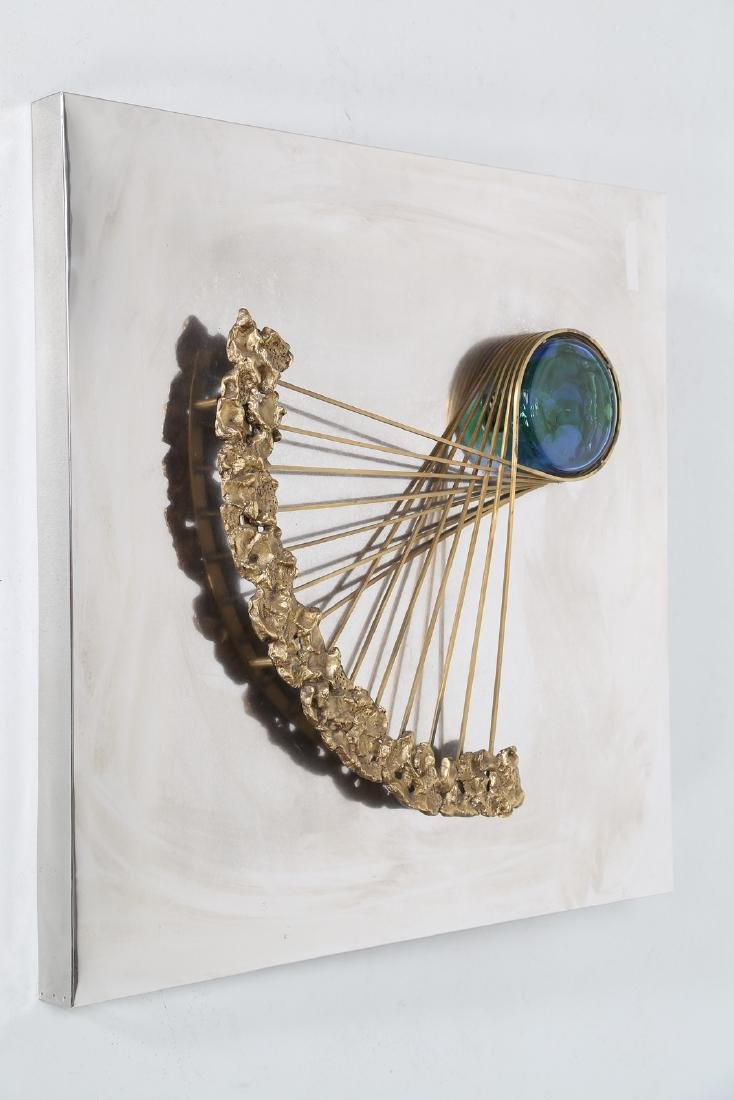 ANGELO BROTTO Aluminum sculpture panel, brass and