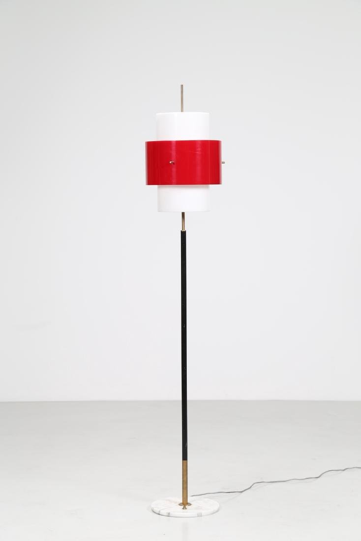 STILNOVO  Lacquered metal and perspex floor lamp, with