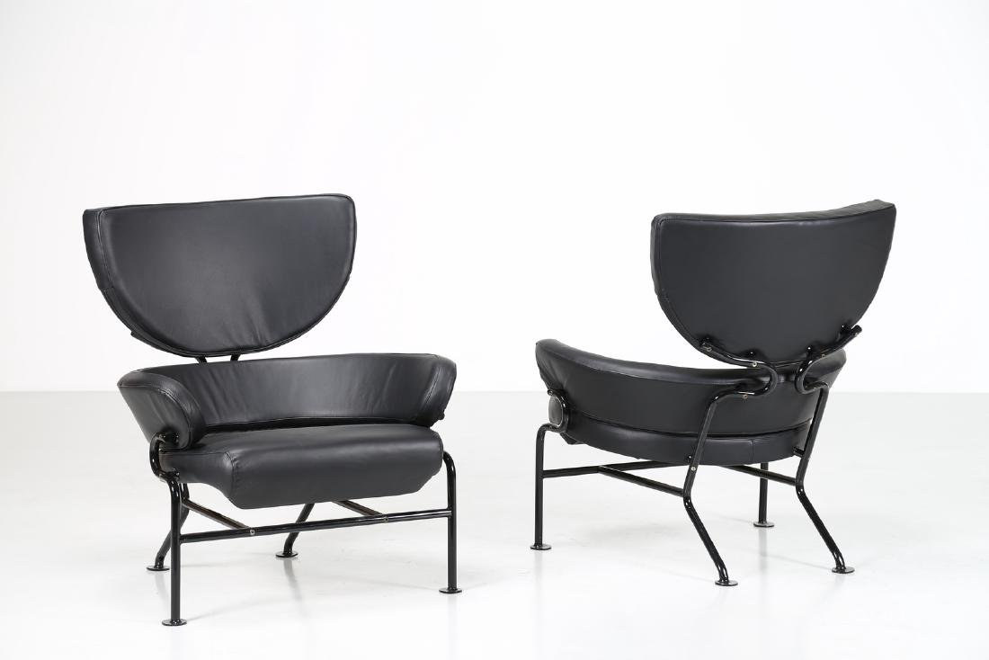 FRANCO ALBINI Pair of lacquered metal and leather