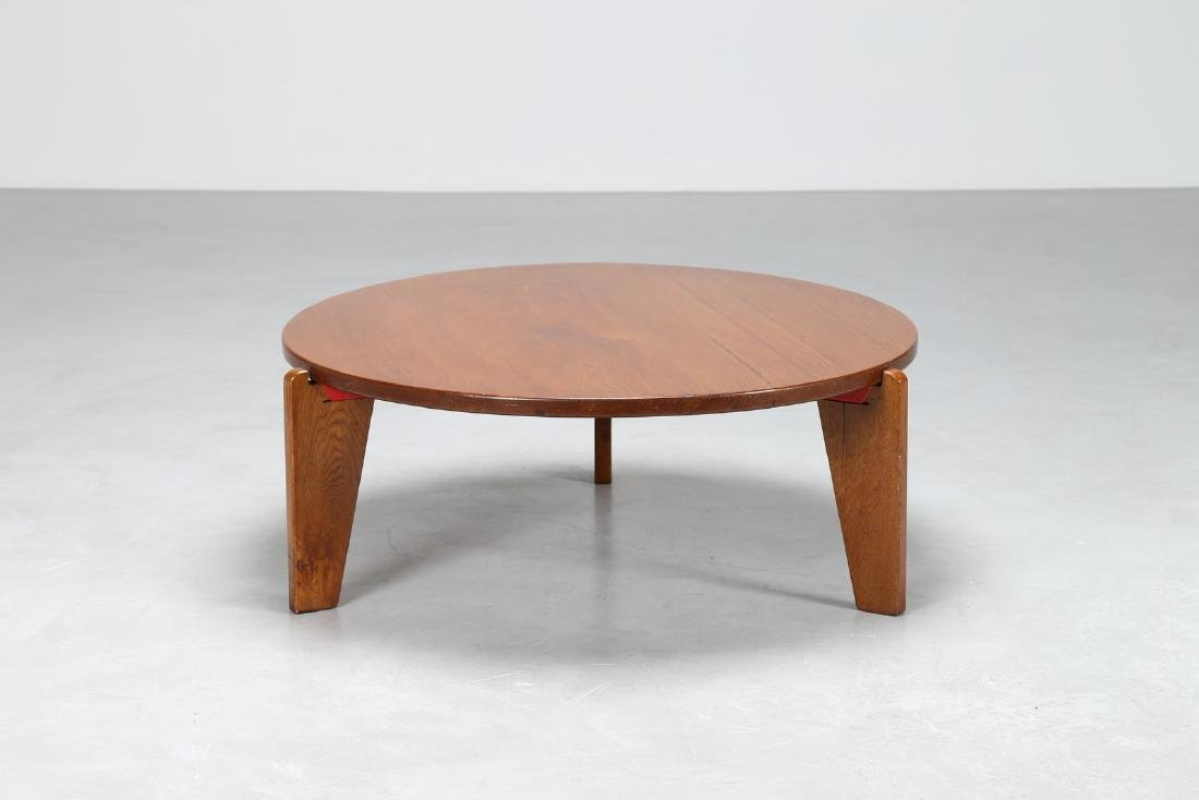 JEAN  PROUVÉ Attrib. Wood circle little table and red