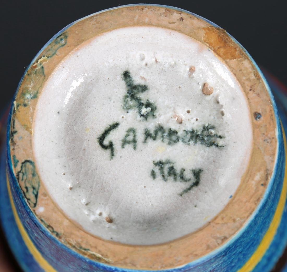 GUIDO GAMBONE Vaso in cerami blu a strisce colorate, - 3