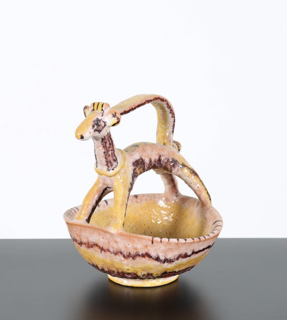 GUIDO GAMBONE Ciotola con cane in ceramica, anni'50.