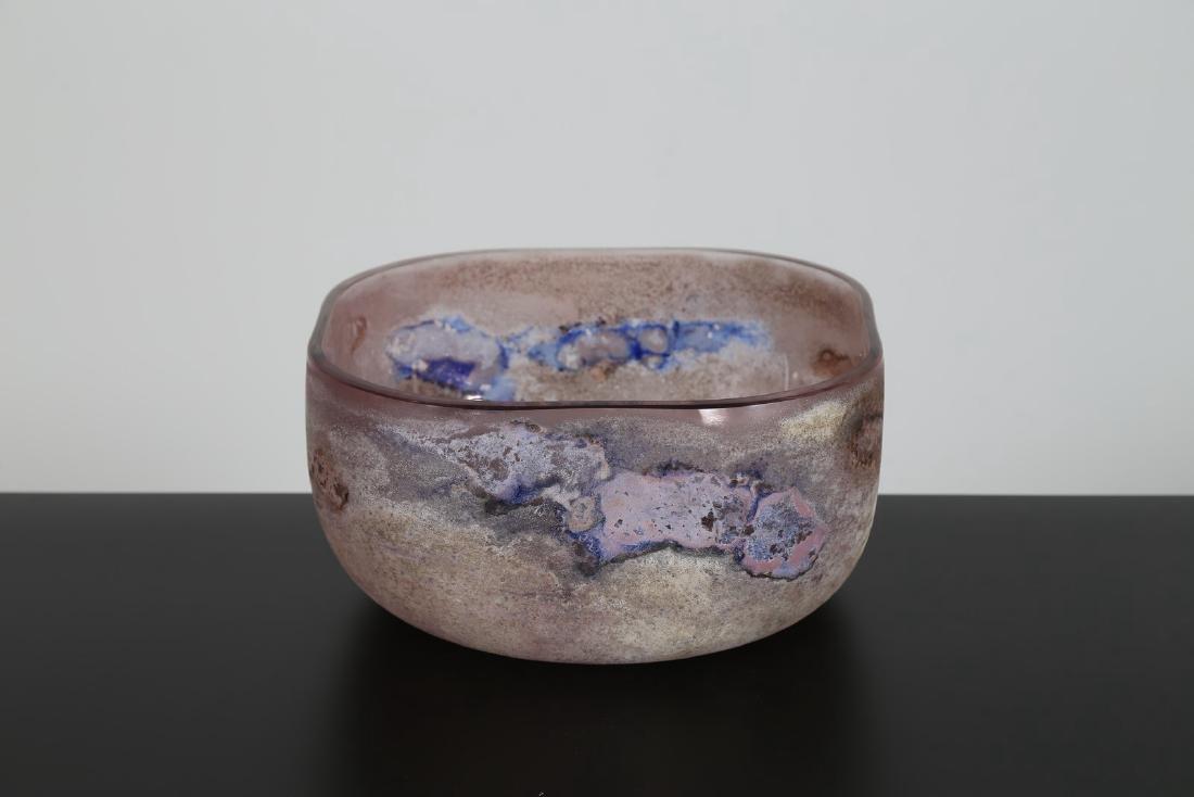ALFREDO BARBINI Ciotola in vetro scavo acidato e - 2