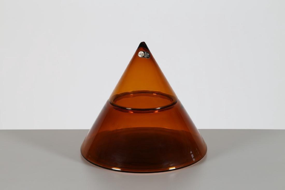 CARLO NASON Contenitore piramidale in vetro ambra, per