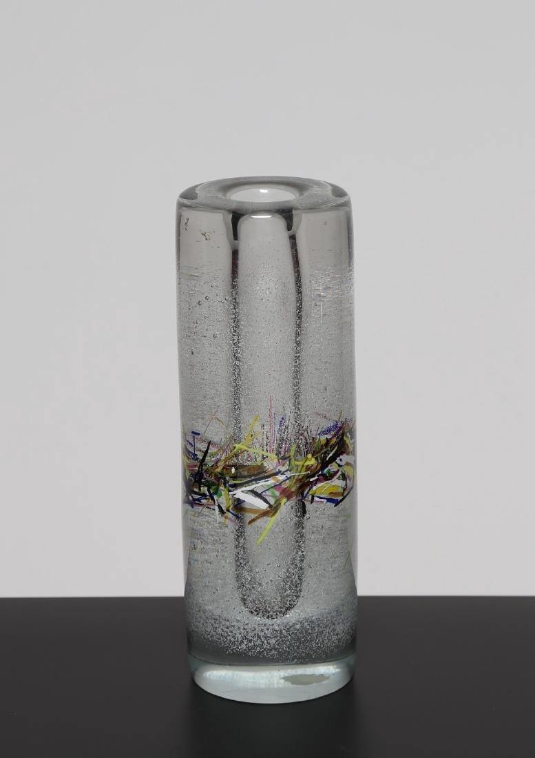 LUCIANO GASPARI Raro vaso in cristallo bulicante con