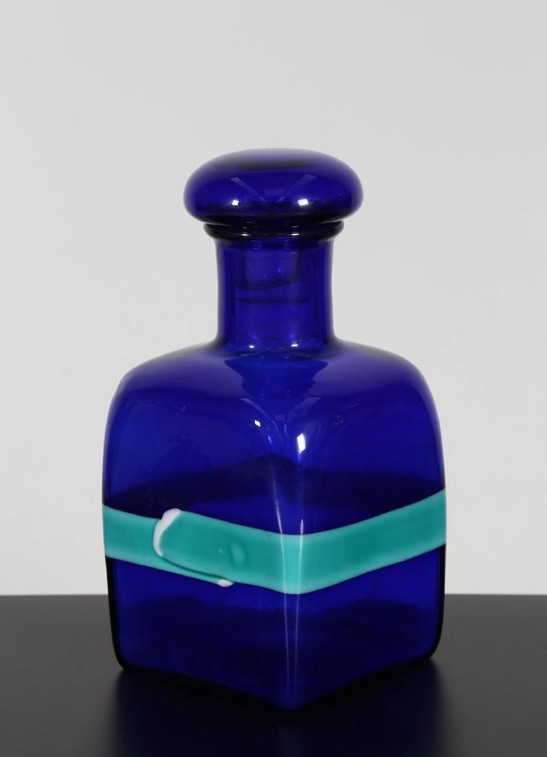 FULVIO BIANCONI Grande flacone con tappo in vetro blu e
