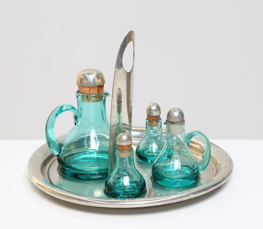 TAPIO WIRKKALA Set olio sale aceto in vetro e peltro,