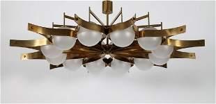 GIO' PONTI Lampadario in ottone e diffusori in vetro