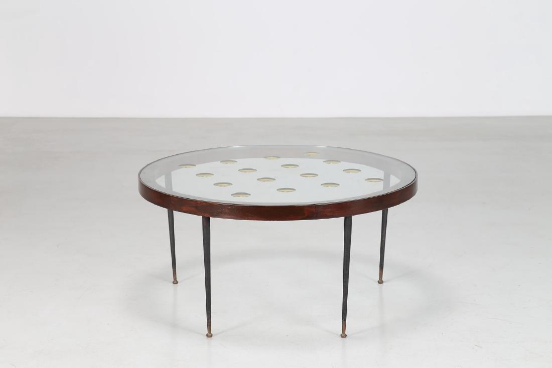CRISTAL ART TORINO  Tavolino in legno, metallo, ottone,