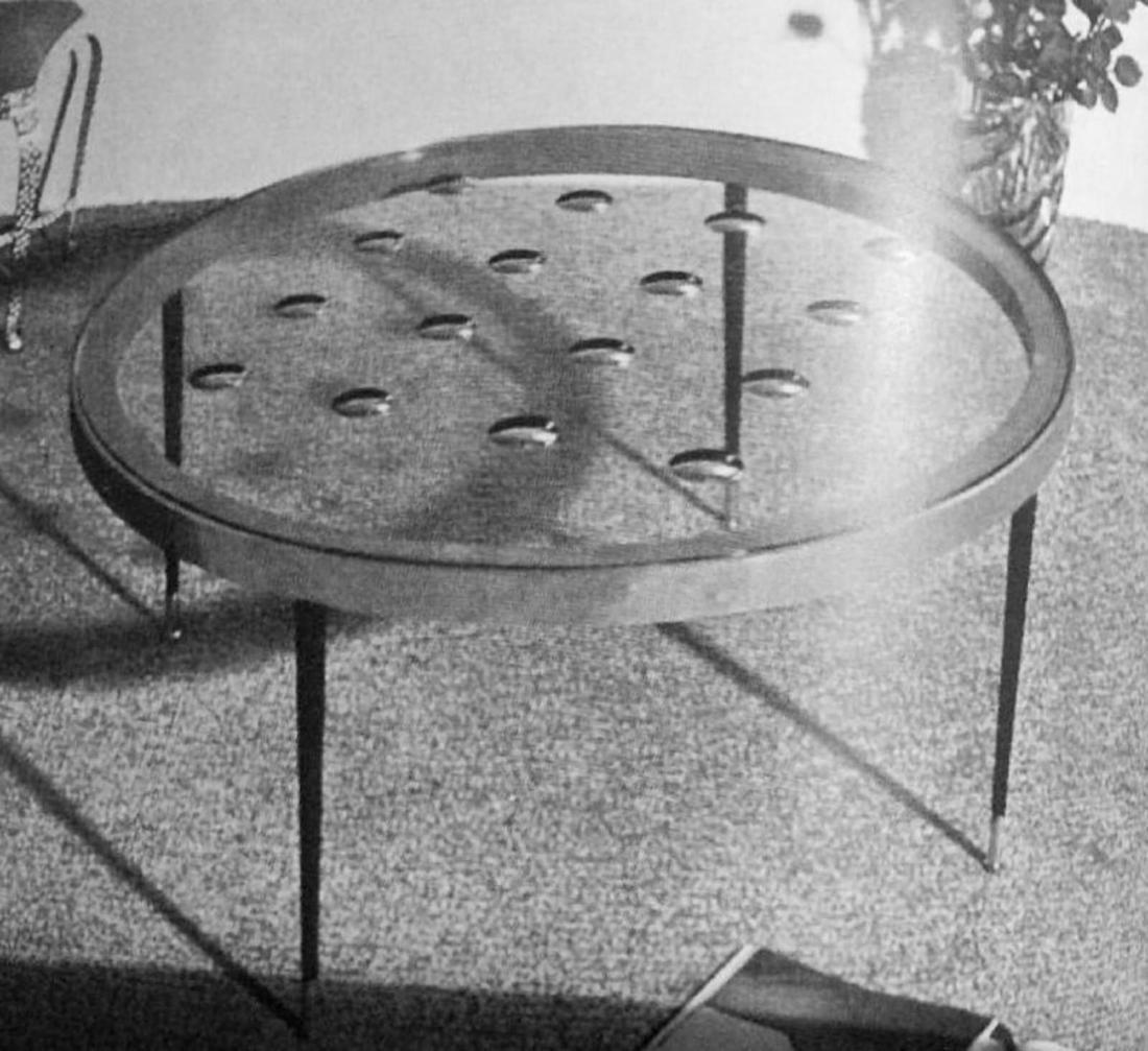 CRISTAL ART TORINO  Tavolino in legno, metallo, ottone, - 6