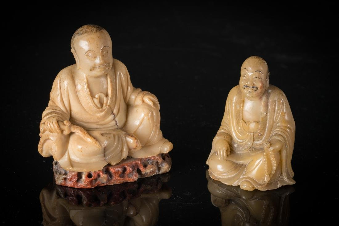 Arte Cinese  Two carved soapstone Lohan figures China,