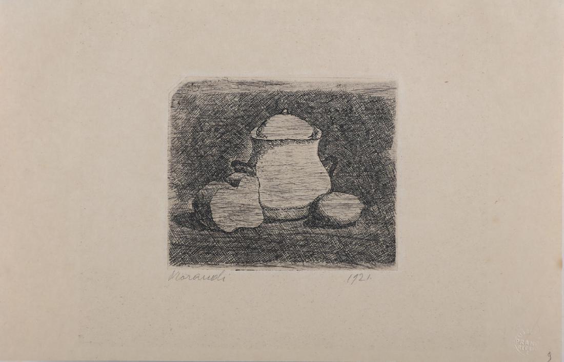 GIORGIO MORANDI Still life with sugar bowl, lemon and