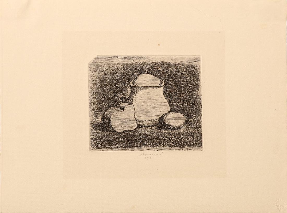 GIORGIO MORANDI Still life with sugar bowl, lemon,