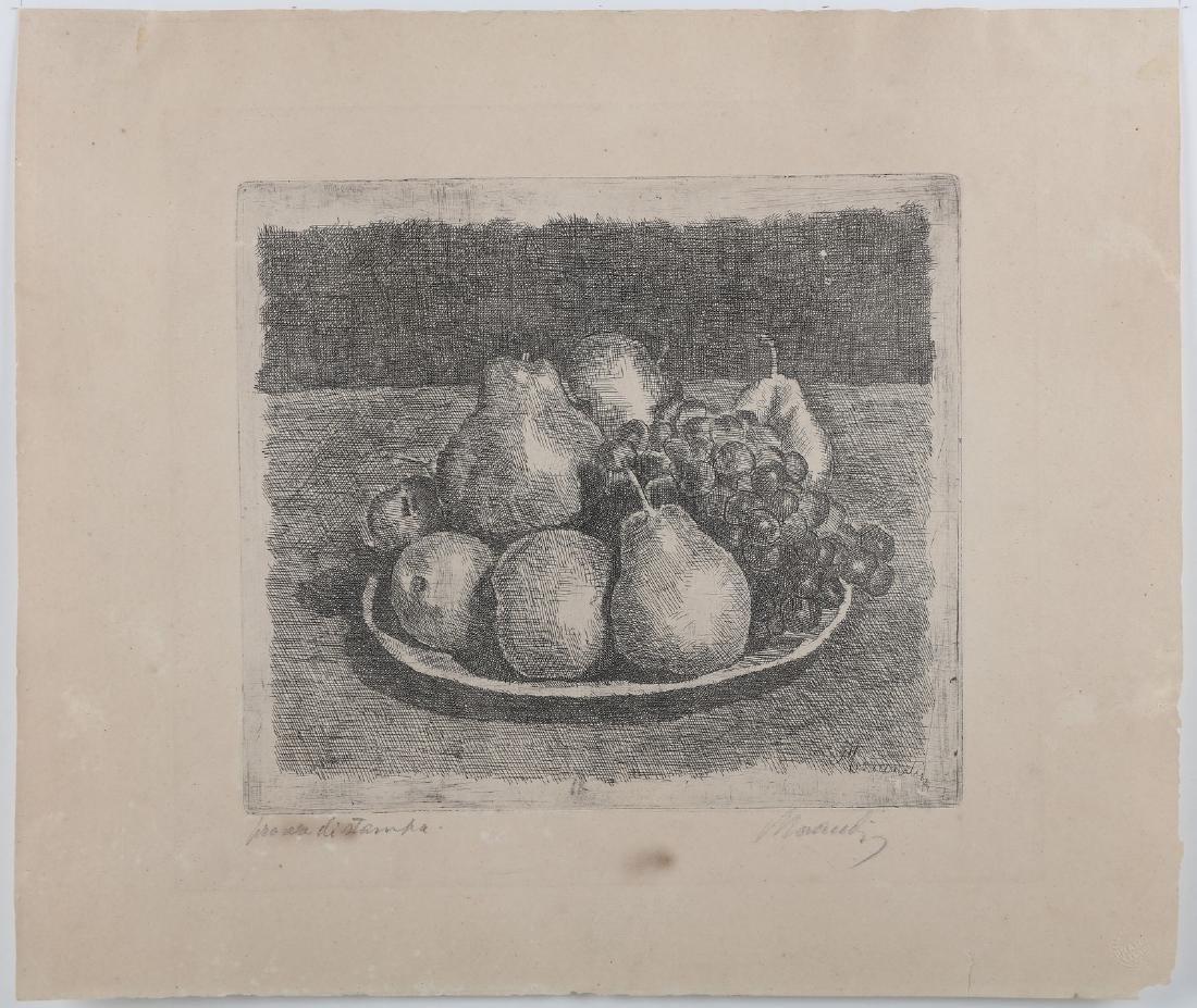 GIORGIO MORANDI Still life with pear and egg.