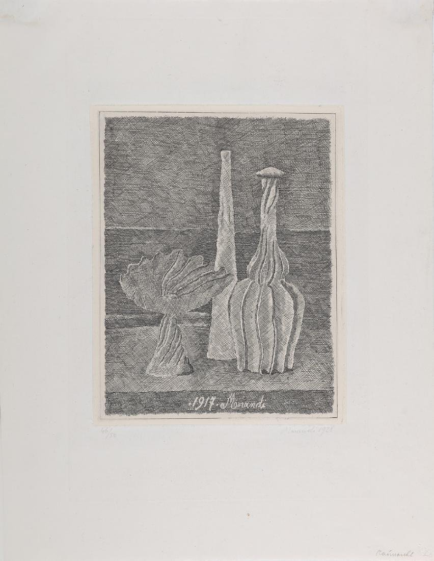 GIORGIO MORANDI Still life with composter, long bottle
