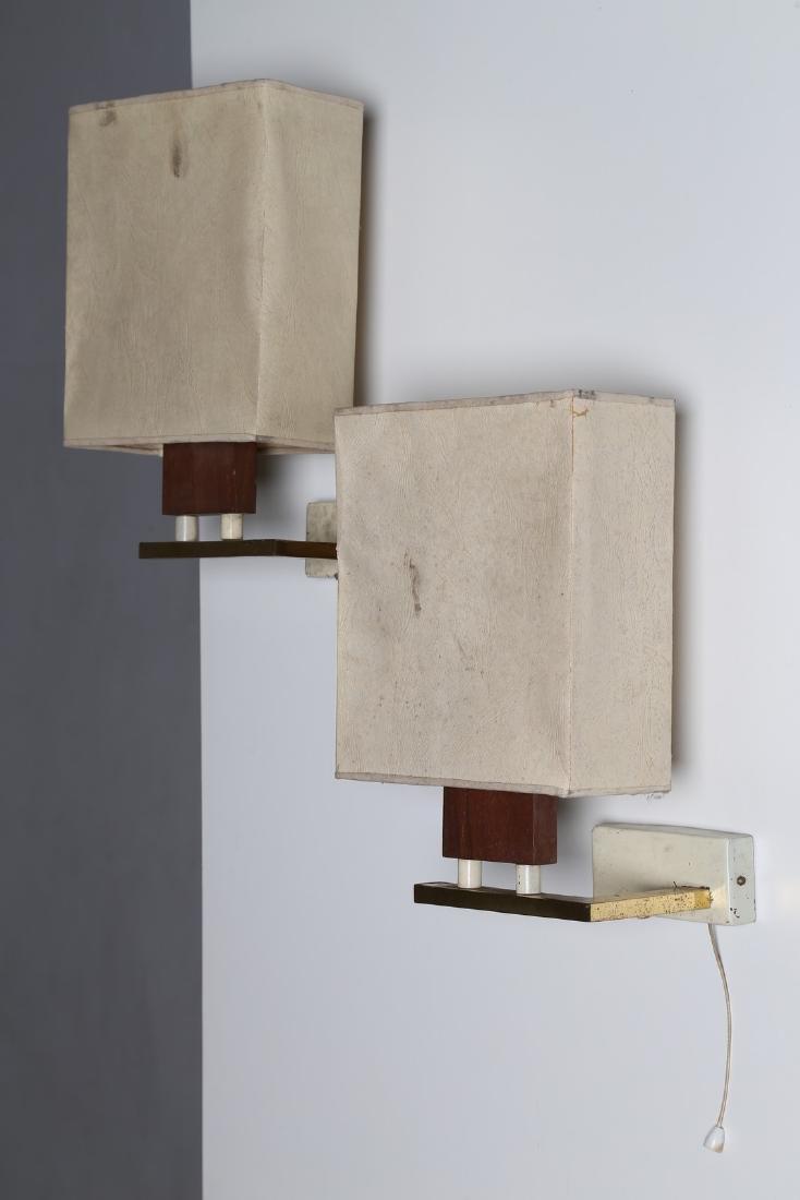 ALFREDO BIANCHI Coppia applique in legno metallo
