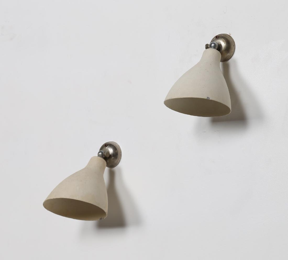 GINO SARFATTI Coppia di lampade da parete in metallo