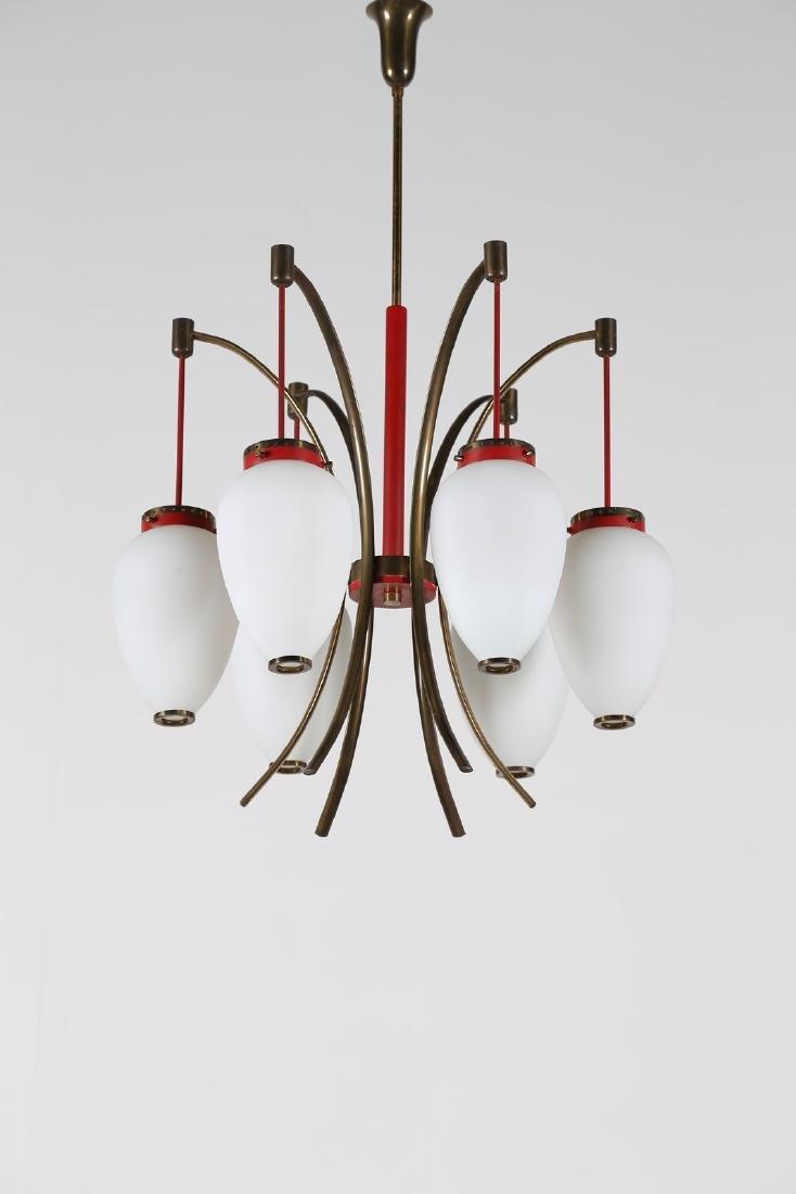 STILNOVO  Lampadario in metallo laccato ottone e vetro