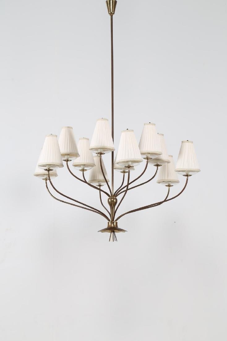 ANGELO LELII Grande lampadario in ottone cristallo e