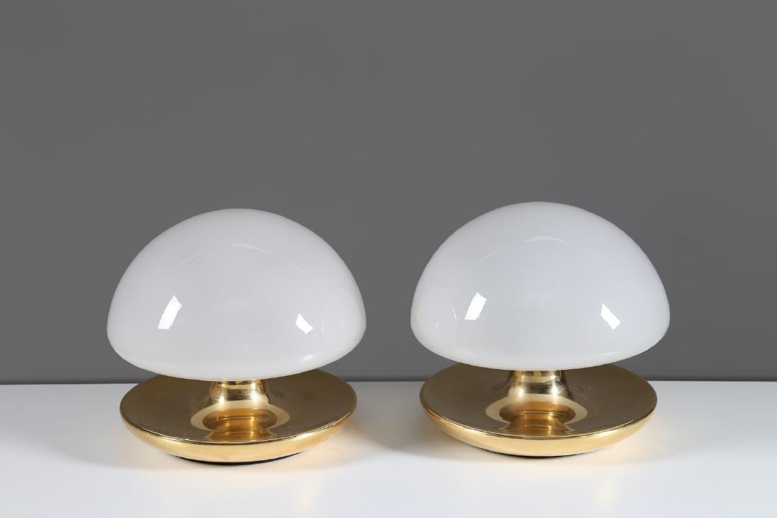 SIRRAH  Coppia di lampade da tavolo in metallo placcato