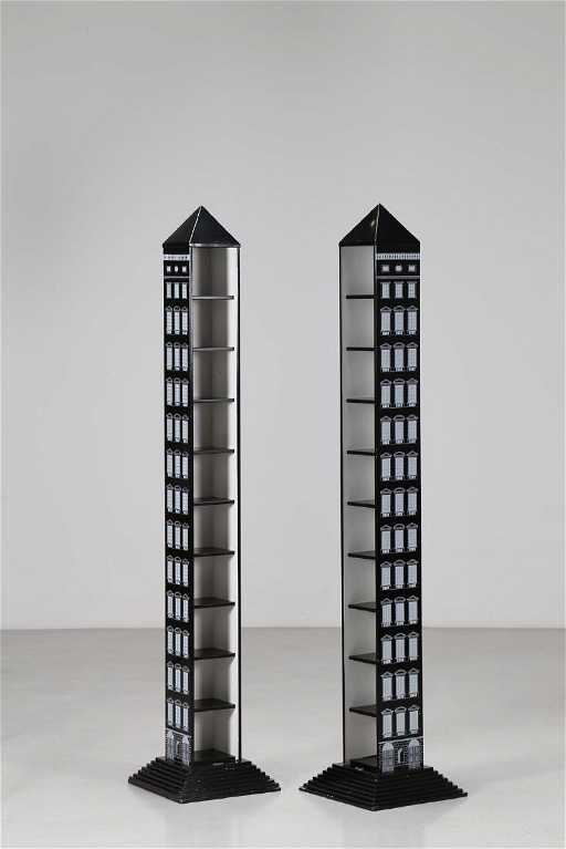 PIERO FORNASETTI Coppia di obelischi porta CD in legno