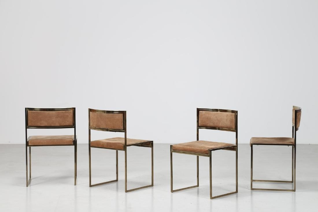 ROMEO REGA Quattro sedie in metallo cromato, ottone e