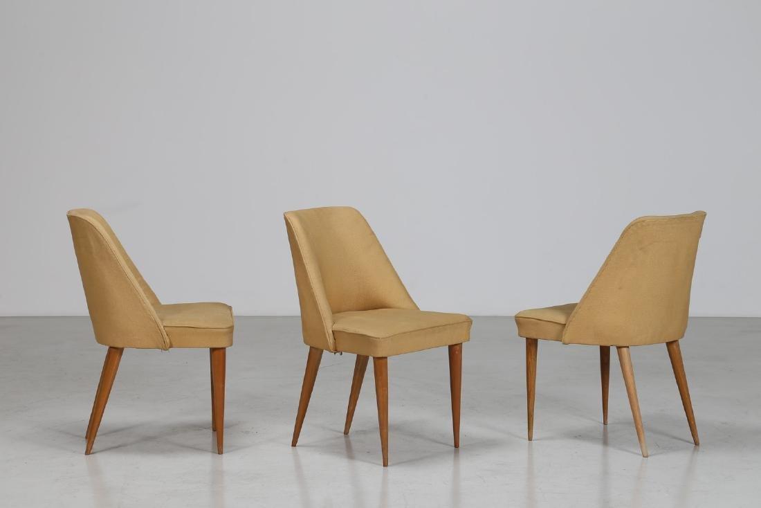 CARLO PAGANI Attrib. Tre sedie in legno e tessuto, anni
