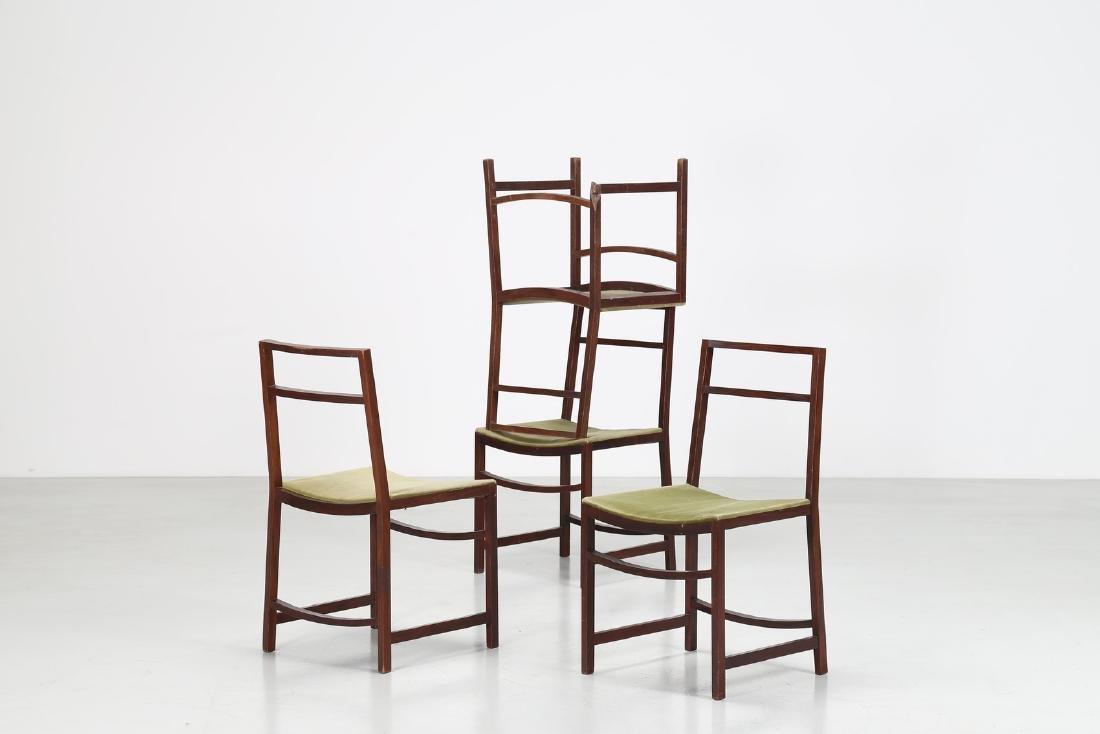RENATO VENTURI Quattro sedie in legno e velluto, per