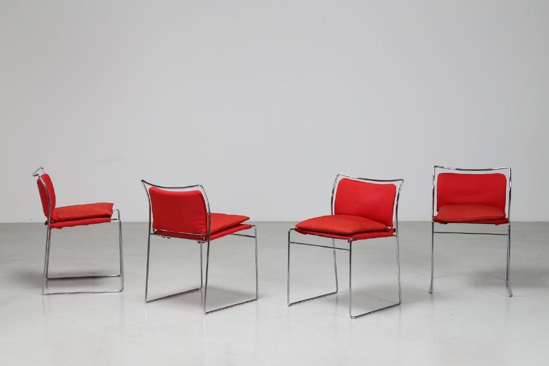 KAZUIDE TAKAHAMA Quattro sedie in metallo cromato e