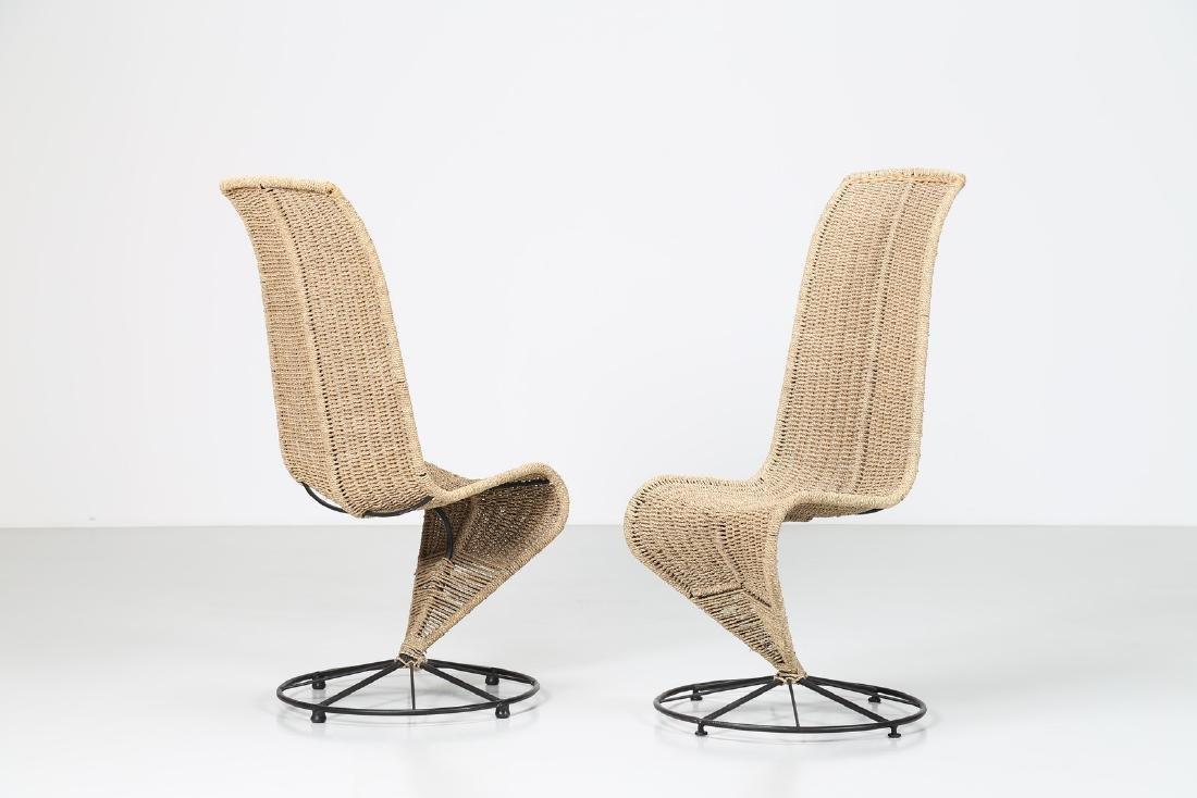MARZIO CECCHI Coppia di sedie in metallo corda e