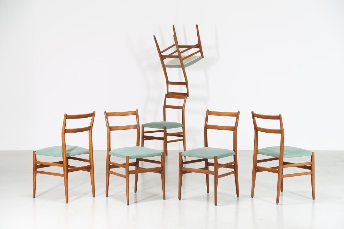 GIO' PONTI Sei sedie in faggio e tessuto mod. Leggera,