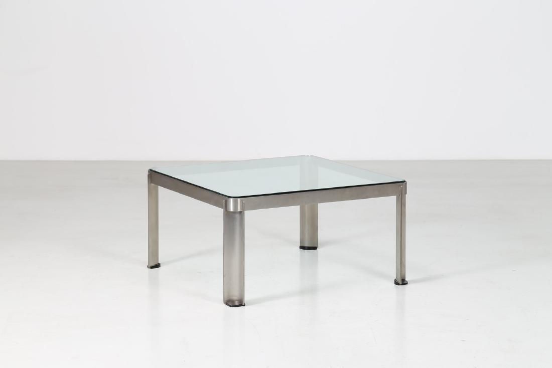 TECNO  Tavolino da caffè in acciaio e vetro, mod. T