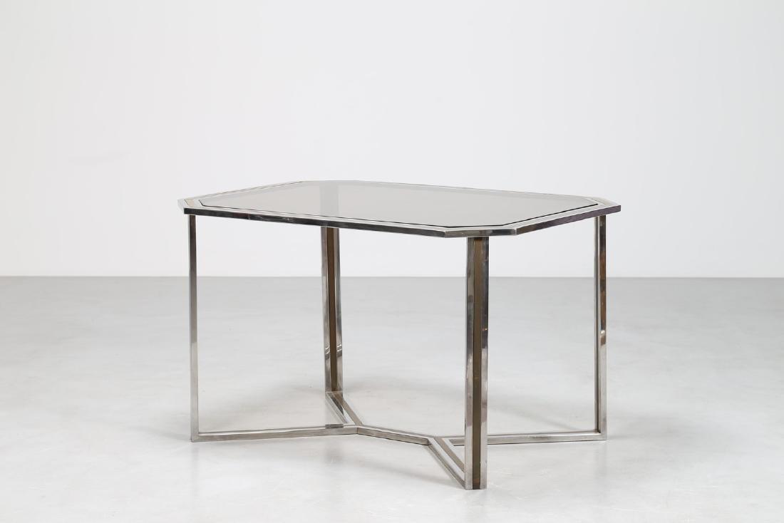 ROMEO REGA Tavolo in metallo cromato e ottone, con