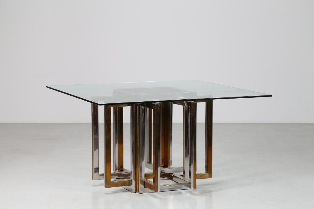 ROMEO REGA Tavolo in metallo cromato, ottone e piano in