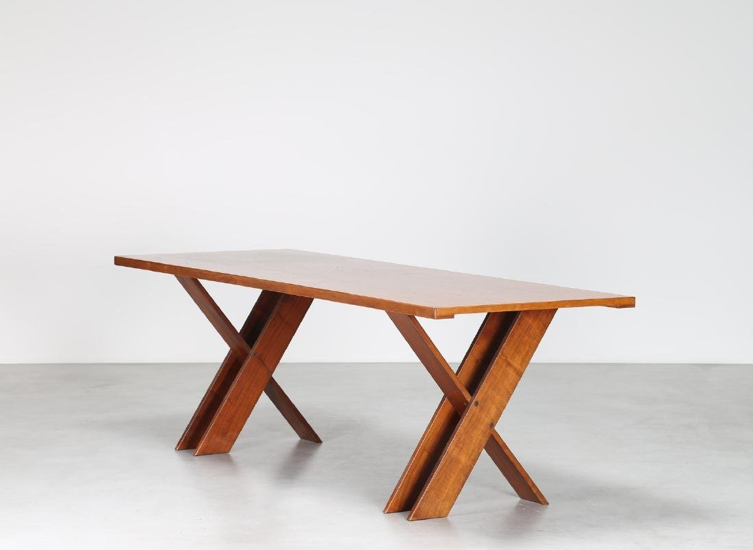 MARCO ZANUSO Tavolo in legno di noce e piano in