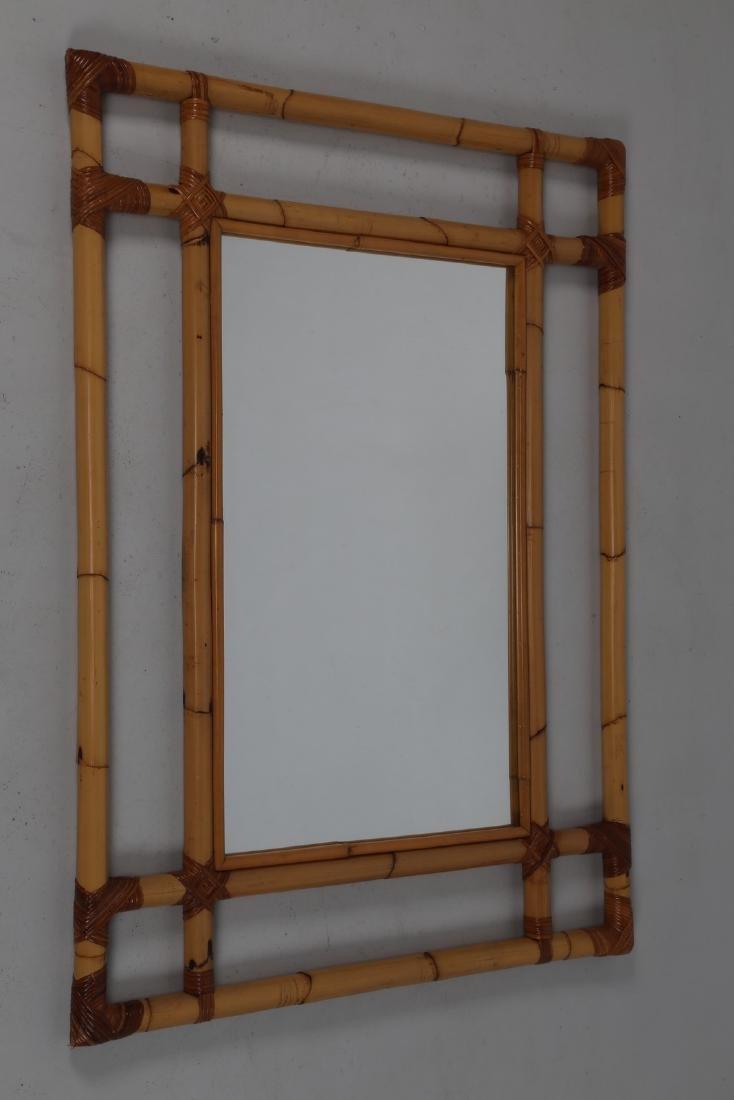 MANIFATTURA ITALIANA  Specchio in bambu'  e vetro, anni
