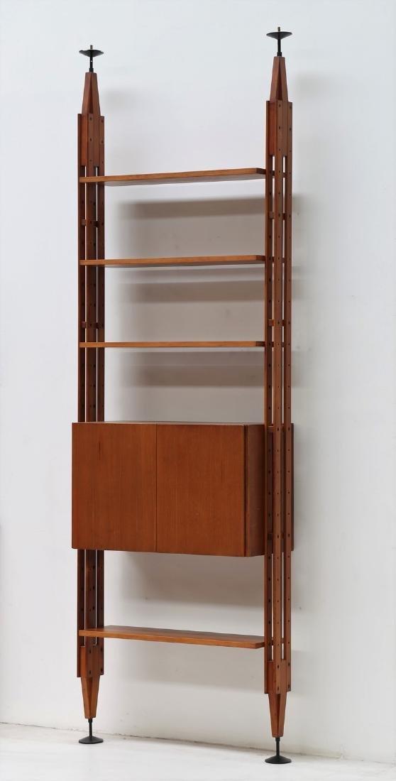 FRANCO ALBINI Libreria in teak e metallo laccato, mod