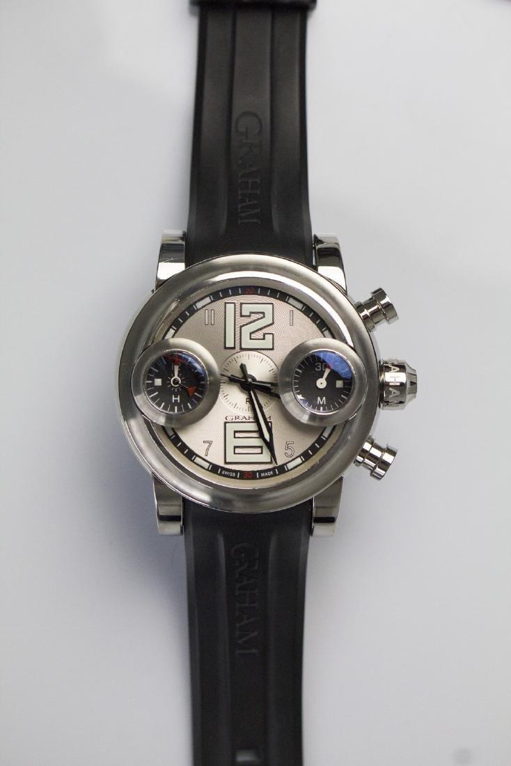 GRAHAM Steel Graham chronograph watch. Box and